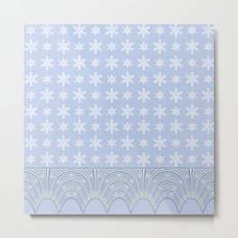 Baby Blue Lace and Stars Metal Print