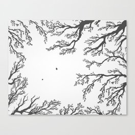 tree branches with birds and leaves on a light background Canvas Print