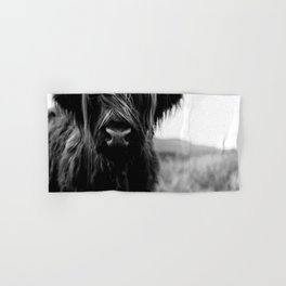 Scottish Highland Cattle Baby - Black and White Animal Photography Hand & Bath Towel