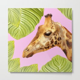 Giraffe with green leaves on a pink background Metal Print