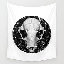 geometric raccoon skull Wall Tapestry
