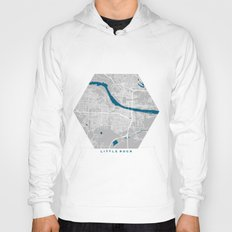 Little Rock city map grey colour Hoody