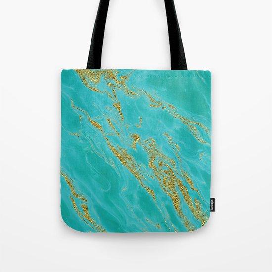 Luxury and glamorous gold glitter on aqua Sea marble on #Society6 Tote Bag