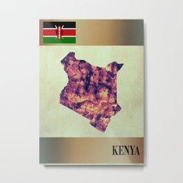 Kenya Map with Flag Metal Print