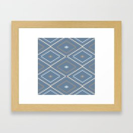Navajo Pattern - Denim / Nude Framed Art Print