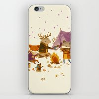 fall iPhone & iPod Skins featuring Critters: Fall Camping by Teagan White