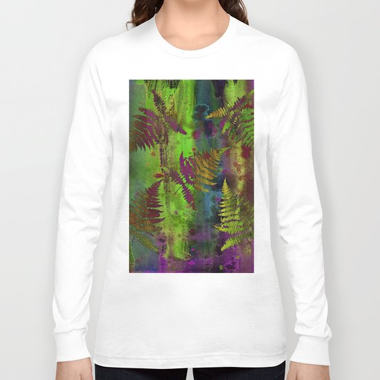Colorful Fern Leaves Long Sleeve T-shirt