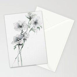 Loose white Anemones in watercolor and pencil Stationery Cards