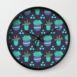 Potted Plants Pattern Wall Clock
