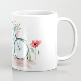 watercolor vintage bike, floral bicycle, summer bike ride Coffee Mug