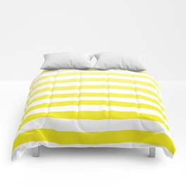 Sun Yellow Handdrawn horizontal Beach Stripes - Mix and Match with Simplicity of Life Comforters