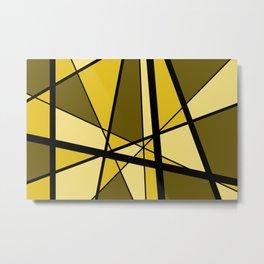 Mikado gold yellow triangles graphic Design Geo Metal Print