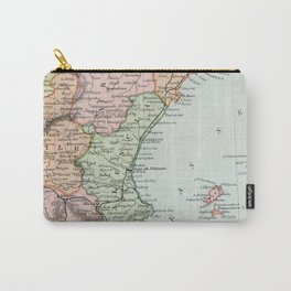 Vintage Map of Spain and Portugal Carry-All Pouch