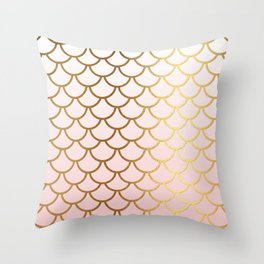 Pink Gradient And Gold Foil MermaidScales - Mermaid Scales Throw Pillow