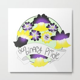 Non-Binary Pride Flowers Metal Print