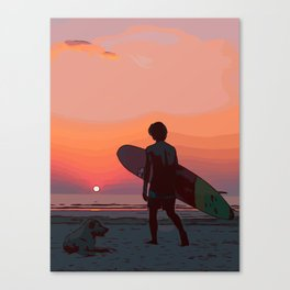Surf dude with dog at the sea by sunset Canvas Print