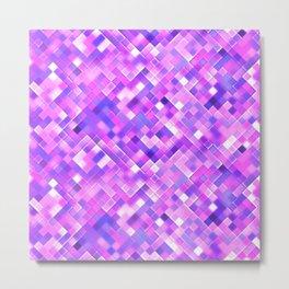 Lilac Bright Squares Mosaic Metal Print