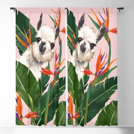 Llama in Bird of Paradise Flowers Blackout Curtain
