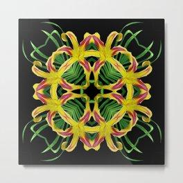 Daylily Mandala - Hemerocallis 'Free Wheelin' k8 Metal Print