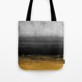 Black and Gold grunge stripes on modern grey concrete abstract background- Stripe-Striped Tote Bag