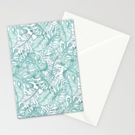 Tropical pink green watercolor hand painted floral Stationery Cards