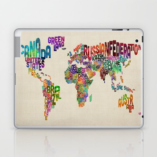 Typography Text Map of the World Laptop & iPad Skin