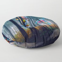 Forest of Super Electric Jellyfish Worlds Floor Pillow