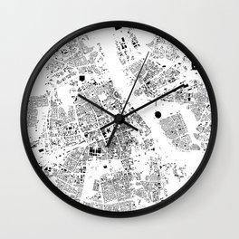 Warszawa Map Schwarzplan Only Buildings Wall Clock