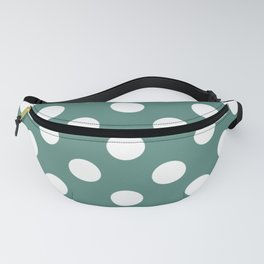Wintergreen Dream - green - White Polka Dots - Pois Pattern Fanny Pack