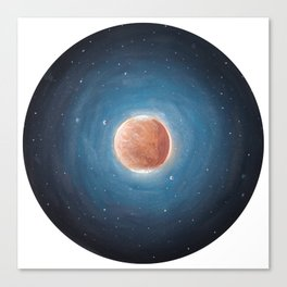 Solar System: Mars with Phobos and Deimos orbiting around. Canvas Print
