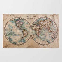 Vintage Map of the World 1800 Rug