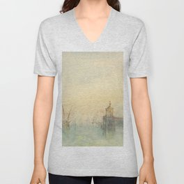 """J.M.W. Turner """"Venice: The New Moon – The Dogana from the steps of The Hotel Europa"""" Unisex V-Neck"""