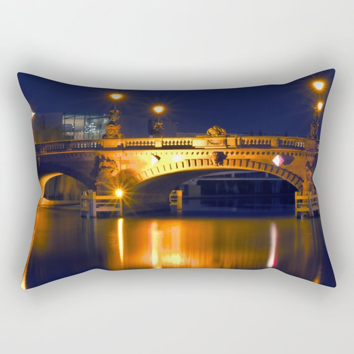Nocturnal Lights on the river Spree in Berlin Rectangular Pillow