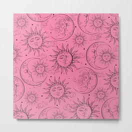 Pink Magic Celestial Sun Moon Stars Metal Print
