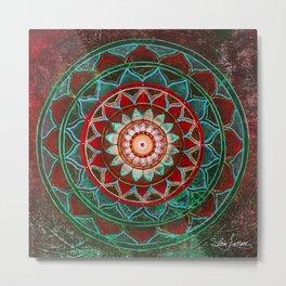 red-tourquoise mandala Metal Print