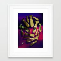 bombs away Framed Art Prints featuring Peace is bombs away. by alex preiss