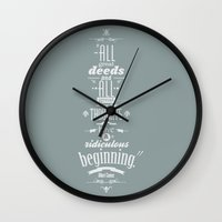 camus Wall Clocks featuring Albert Camus quotes by Jonathan Guillou