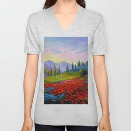The castle on the mountain Unisex V-Neck