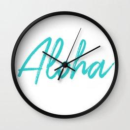 Aloha in Tropical Blue Wall Clock