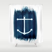 anchor Shower Curtains featuring Anchor by Bridget Davidson