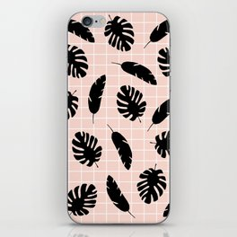 Graphic Tropical Leaves on Grid Black and Pink iPhone Skin