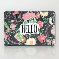 preppy iPad Cases featuring Pastel preppy flowers Hello typography chalkboard by Girly Trend