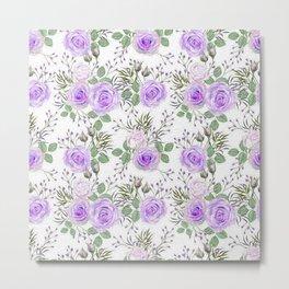 Purple Roses, Shabby Floral Metal Print
