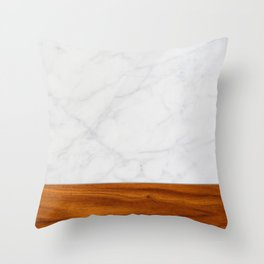 Marble and Wood 2 Throw Pillow