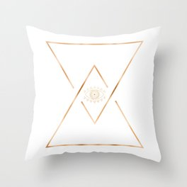 Mandala Gold Geometric Eye Throw Pillow