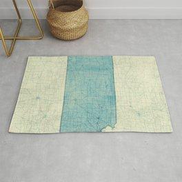 Kansas State Map Blue Vintage Rug