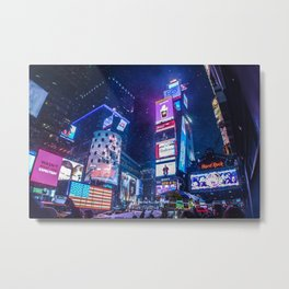 SNOWY NIGHT IN TIME SQUARE Metal Print