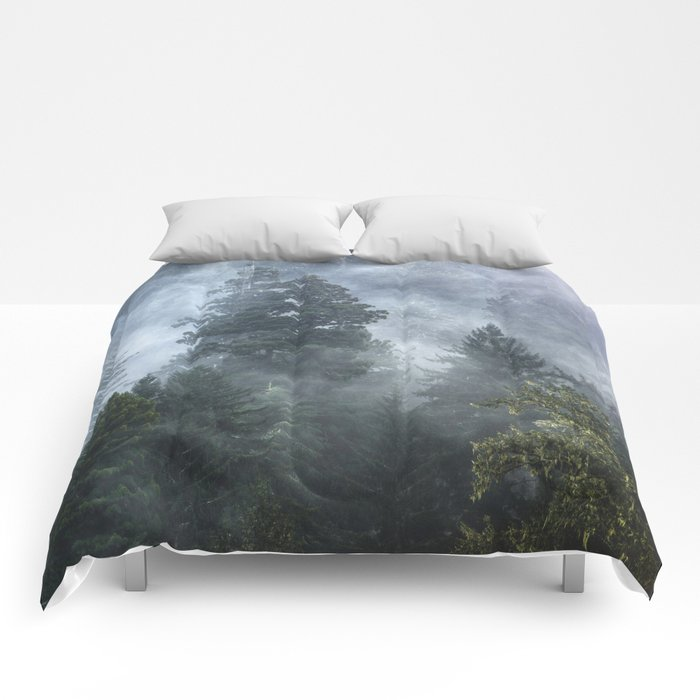 Smoky Redwood Forest Foggy Woods - Nature Photography Comforters
