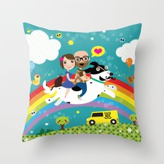 Rick and Ellen Fly to the Taco Bus Throw Pillow