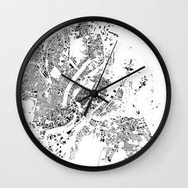 Copenhagen Map Schwarzplan Only Buildings Wall Clock